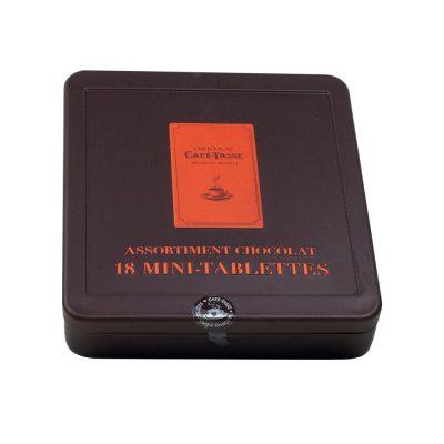 boite métal 18 mini-tablettes de chocolat
